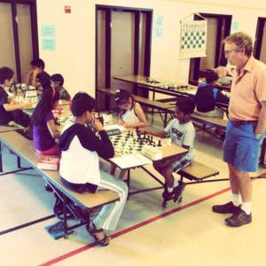 MSJE Head Coach Joe Lonsdale was always available to help kids review their USCF rated chess games.