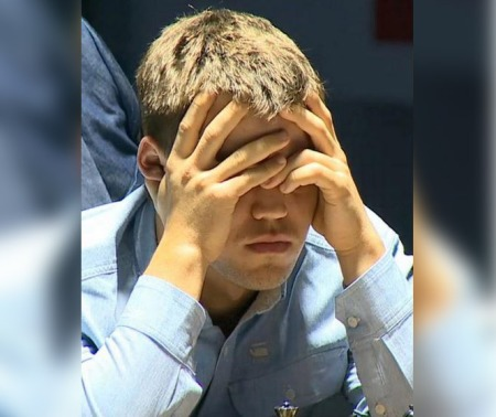 Magnus Carlsen's expression after Anand played 17. Ng5(photo from: http://susanpolgar.blogspot.com/)