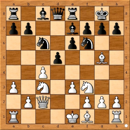 The position after Magnus Carlsen plays 10... Be7.
