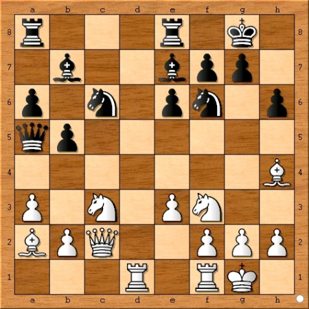 The position after Magnus Carlsen plays 16... Bb7.