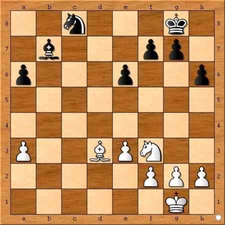 The position after Magnus Carlsen plays 28... Nxc8.