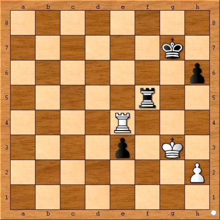 The final position of Game 5 from the 2014 Carlsen-Anand World Chess Championship Match.