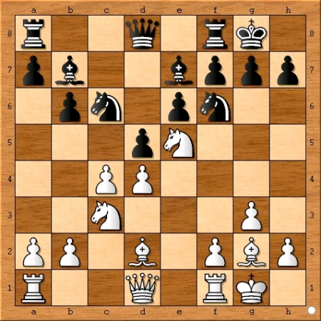 The position after Magnus Carlsen plays 11... Nc6.