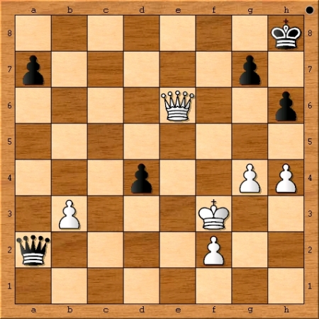 The position after Magnus Carlsen plays 44. Qe6.
