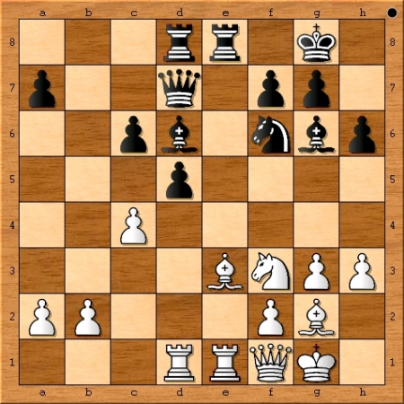 The position after Magnus Carlsen plays 19.c4.