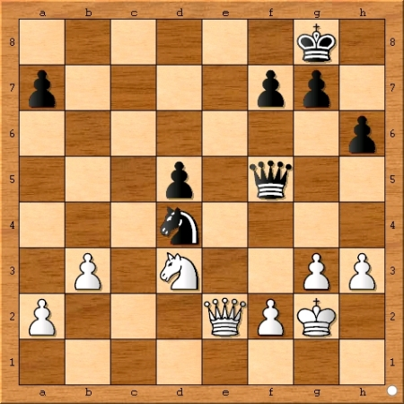 The position after Viswanathan Anand plays 33... Nd4.