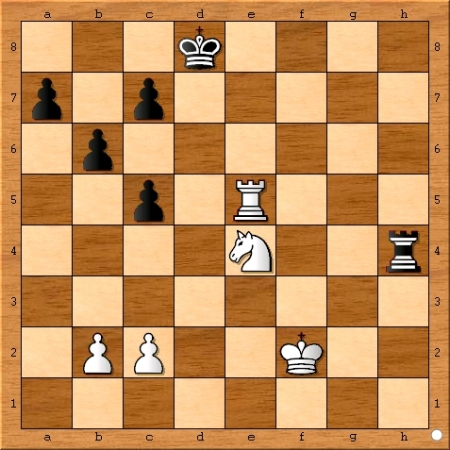Position after Viswanathan Anand plays 34... Rh4.