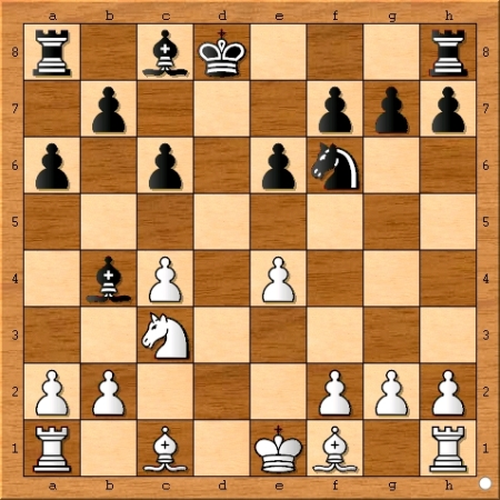 The position after Viswanathan Anand plays 9... Kxd8.