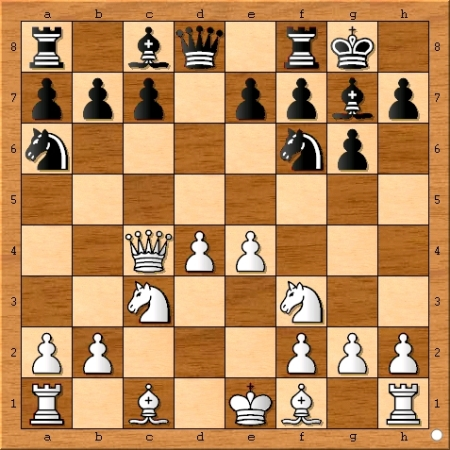 Position after Magnus Carlsen plays 7... Na6.