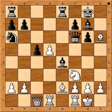The position after Viswanathan Anand plays 17. Bxh6.